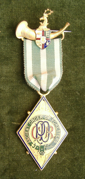ORDER OF FORESTERS PAST DISTRICT RANGER MEDAL RIBBON FULL-SIZE 6 INCHES